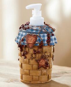 Primitive Country Hearts Stars Blue Soap Lotion Pump Berries Checkers Decor Ebay