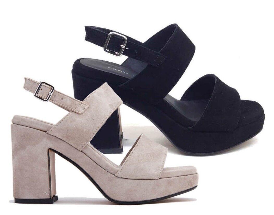 Frau 89a2 Rope nero donna scarpe Leather Sandals Platform Wedge Heel Suede