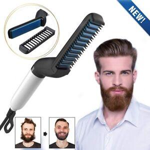Details about Multifunctional Hair Comb Curling Curler Quick Beard Straightener Show Cap Men