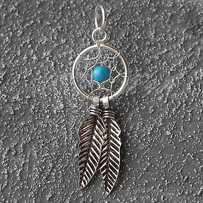 Gewidmet Neu 925 Silber 30mm KettenanhÄnger 10mm TraumfÄnger 3mm Perle Türkis/blau Federn Neue Sorten Werden Nacheinander Vorgestellt