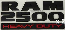 (2) NEW DODGE RAM 2500 HEAVY DUTY BLACK 3M LOGO EMBLEM LETTERS NAMEPLATE BADGE
