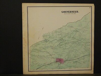St Lawrence County Map Fine New York Gouverneur Township 1865 Y5#56