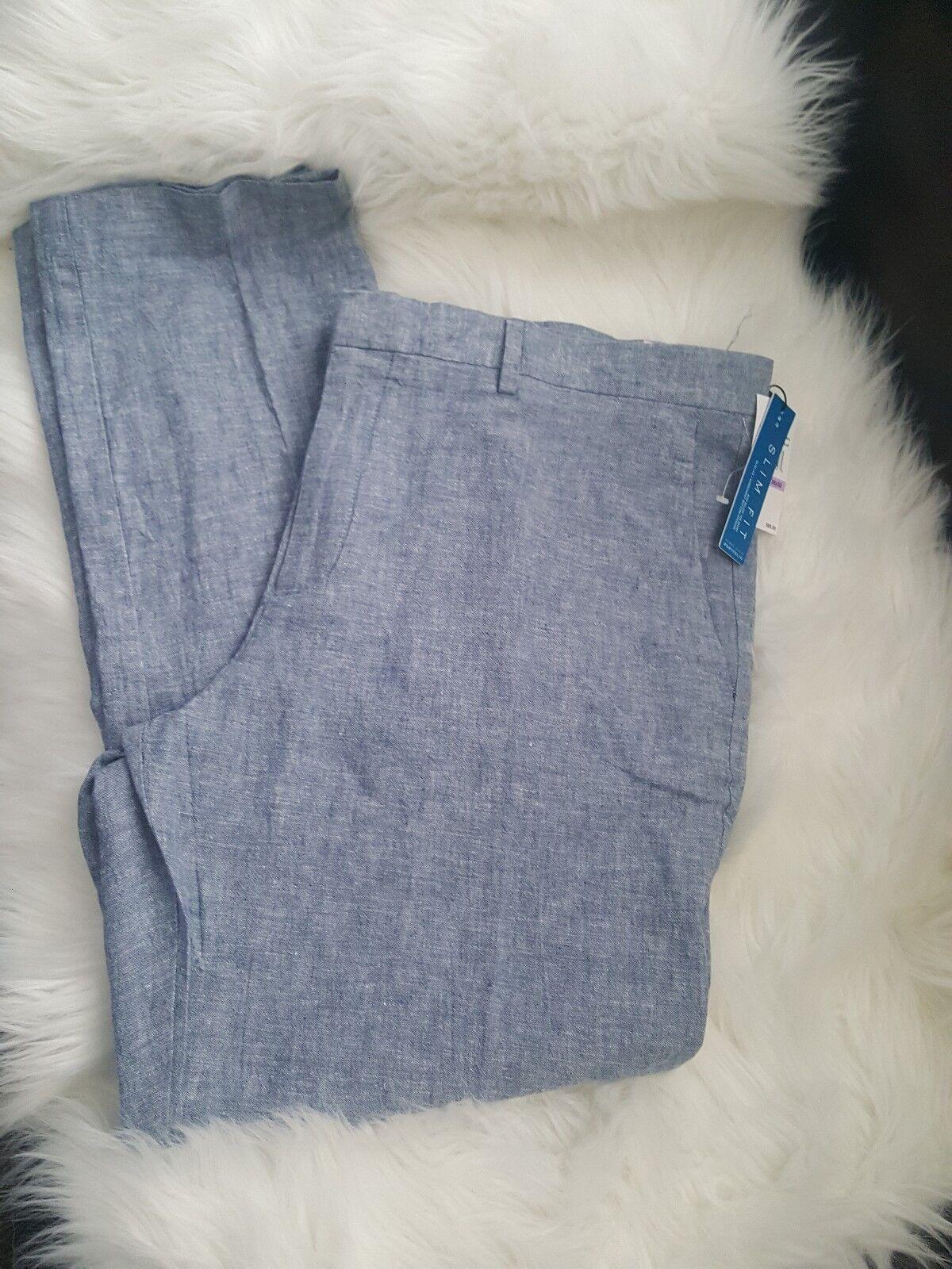 Perry Ellis Portfolio Slim Fit Bay bluee  Pant Size 38×32