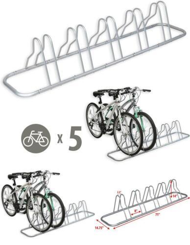 5 Bike Floor Parking Rack Storage Stand Holder Organizer Ground Bicycle Mount