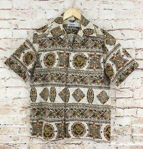 Vintage-Andrade-Mens-Hawaiian-Tiki-Aloha-Shirt-Size-Medium