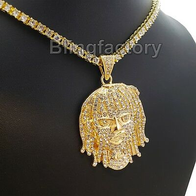 "Hip Hop Crowned Lion Pendant /& 18/"" Iced 1 ROW DIAMOND Choker Chain Necklace"