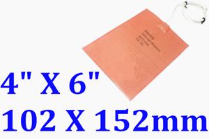 """4/"""" X 6/"""" 102 X 152mm 120W w// 3M 90 Deg C Thermostat CE Silicone Engine Heater Pad"""
