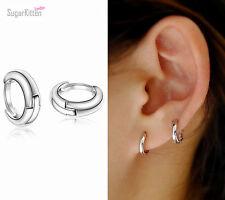 925 Sterling Silver Plain Simple Tiny Small Hoop Huggie Earrings 10mm Men Women Ebay