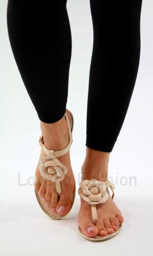 Nouveau Femme Sandales plates fleur Entredoigt Bride Arrière Confortable Chaussures Tailles UK