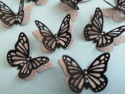 20x 3D paper butterflies Wedding Party table decorations black and silver