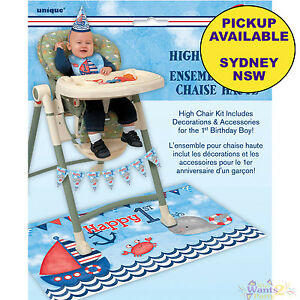 Image Is Loading NAUTICAL BOYS 1ST BIRTHDAY PARTY SUPPLIES HIGH CHAIR
