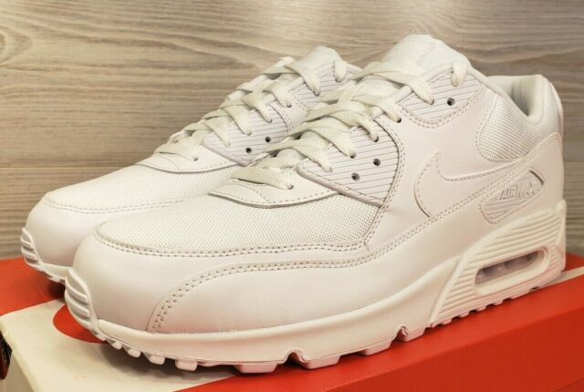 Nike Air Max 90 Essential Mens 537384 111 Triple White Running Shoes Size 9