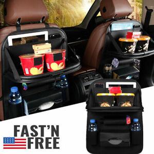 Car Back Seat Organizer Foldable Table Tray Storage Holder Pu