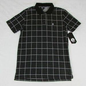 Volcom-Mens-Polo-Shirt-Black-with-White-Lines-Squares-New-AO1004A