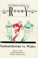 WALES 1989 RUGBY TOUR PROGRAMME v SASKATCHEWAN 31 May at Regina