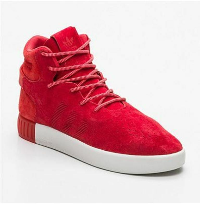 ADIDAS Sneakers montantes Tubular Invader cuir daim rouge  44 - NEUF UK 9,5 120€