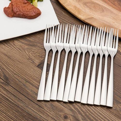 6Pcs//Set Stainless Steel Upscale Dinnerware Silver Cutlery Fork Teaspoon LE
