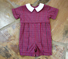 NEW Remember Nguyen Christmas Plaid 9 mths Boys Tartan Romper Months Mo.