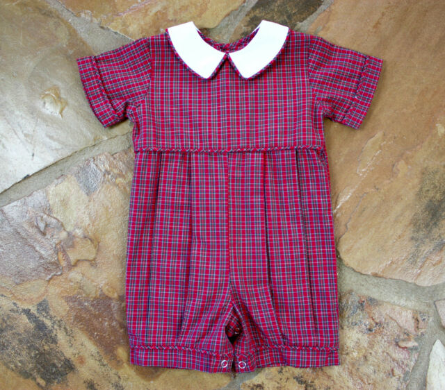 NEW Remember Nguyen Plaid 9 mths Boys Tartan Romper Holiday RN1