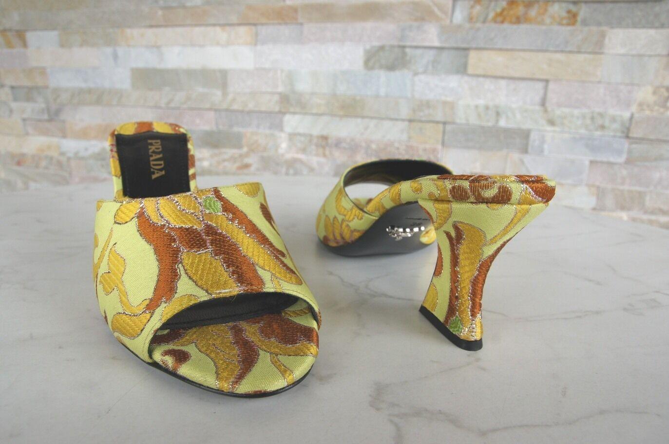 PRADA PRADA PRADA Gr 36,5 Pantoletten Sandaletten Sandalen Schuhe Lime Limone NEU a6a954