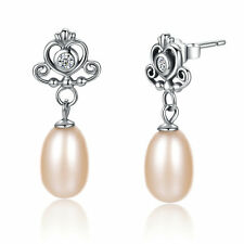 925 Sterling Silver Wedding Bridal CZ Crown Freshwater Pearl Dangle Earring