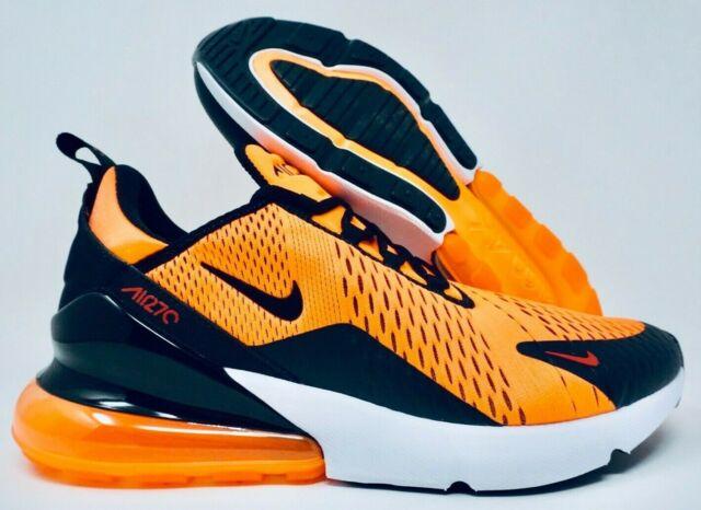 ujęcia stóp szczegóły dla odebrać Nike Air Max 270 Mens Running Shoes Total Orange Black White Size 11