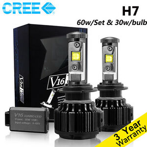 Cree-LED-Headlight-Kit-H7-60W-Set-6000K-Cool-White-7200LM-Bulbs-One-Pair