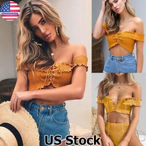 Women-Sexy-Off-Shoulder-Crop-Top-Ladies-Summer-Short-Sleeve-Shirt-Blouse-T-shirt