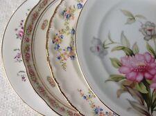 """Set 4 Vtg Mismatched China Dessert Cake Salad 7.75 to 8.25"""" Plates Pink Florals"""