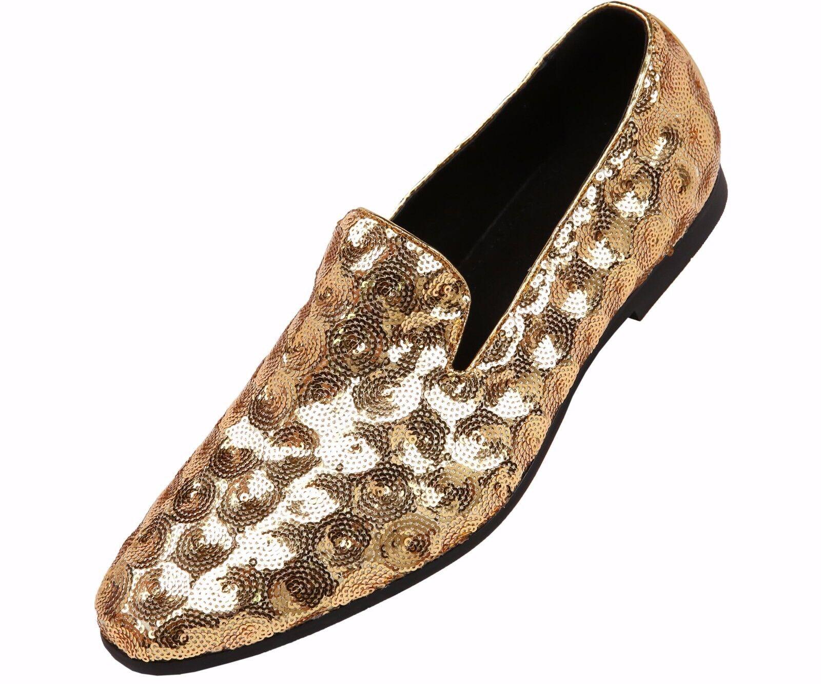 Amali Mens Mens Mens Gold Sequin Circle Patterned Smoking Slipper Dress schuhe   Swirl-035 49e09f