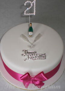 Fabulous Diamante Numbers Champagne Bottle Glasses Birthday Cake Topper Personalised Birthday Cards Epsylily Jamesorg