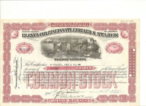 Chicago /& St 1940//50's Cleveland Louis Railroad stock certificate Cincinnati