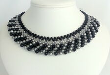 Handmade Statement Collar Pearl Swarovski Necklace Black & Silver Beaded