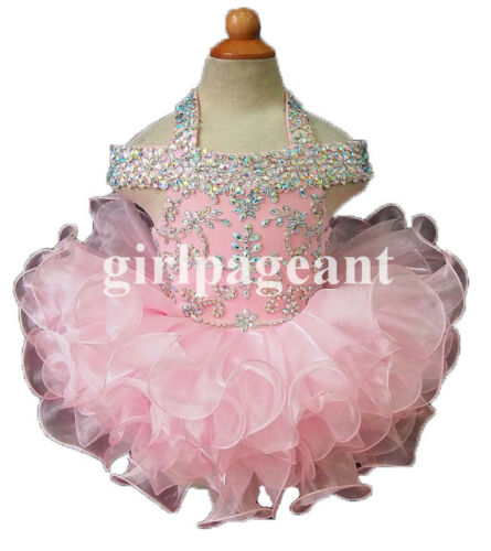 Infant//toddler//baby rhinestone /&Crystals Beading Pageant Dress 081 with hairbow