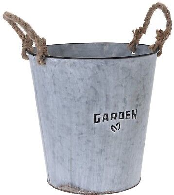10 Litre Black Bucket Plant  Zinc Planter Plant Pot Flower Planter Rustic Design