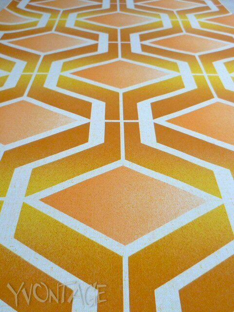 Tapete Wandtapete original 70er Op Art gelb Orange graphisch geometrisch