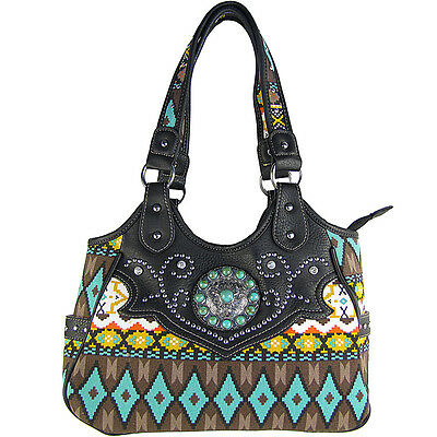 BLACK TRIBAL FLOWER LOOK SHOULDER HANDBAG CONCEALED CARRY BRAND NEW PURSE