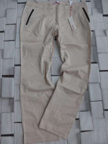 Sheego Pantaloni Tessuto Tg 40 e 46 Beige con tono in finta pelle NUOVO 356