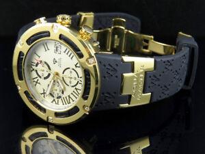 Mens-Aqua-Master-El-Russo-W-346-Gold-Rubber-Band-Sports-Diamond-Watch-0-20-Ct
