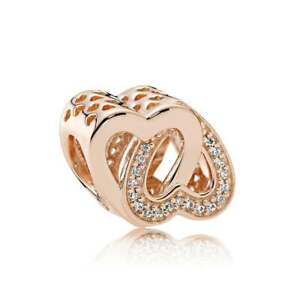 a3222771b Image is loading Genuine-Pandora-Rose-Gold-Entwined-Love-Charm-781880CZ