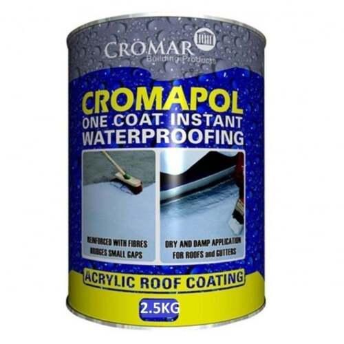 CROMAPOL Emergency Roof Repair Acrylic Roof Coating 2.5 Kg Grey Waterproofing