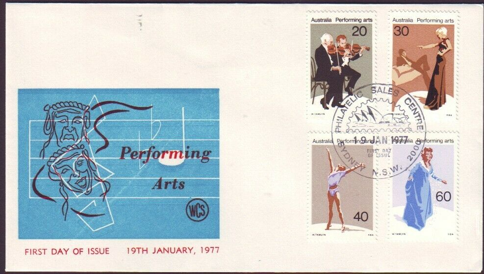 1977 PERFORMING ARTS ON WESLEY FIRST DAY COVER - UNADDRESSED (RU4879)