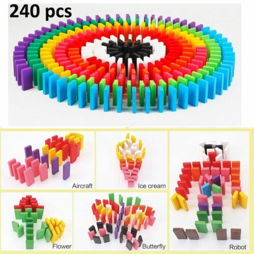 240pcs Wooden Coloured Tumbling Dominoes Family Games Kids Playset Toys Gifts UK