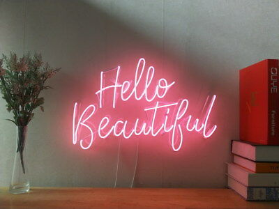 New Hello Beautiful Neon Sign For Bedroom Wall Home Decor Artwork With  Dimmer | eBay