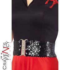 1980s Wide Womens Black Waist Belt with Sequins One Size 80s Fancy Dress