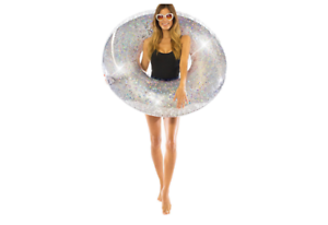 Poolcandy-Silver-Glitter-Pool-Float-Raft-Tube-Beach-Party-Swimming-Toy-Adult-Fun
