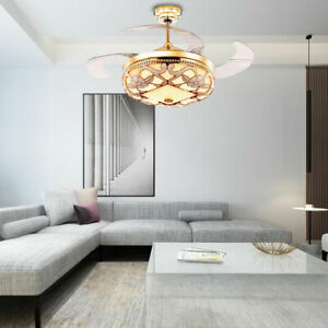 Crystal-42-034-Chandelier-Ceiling-Fan-Light-Retractable-LED-Dimmable-Remote-GoldNew
