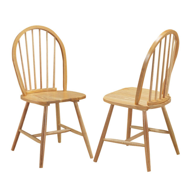 Astonishing Set Of 2 Windsor Chairs Wood Armless Dining Room Spindle Back Kitchen Natural Alphanode Cool Chair Designs And Ideas Alphanodeonline