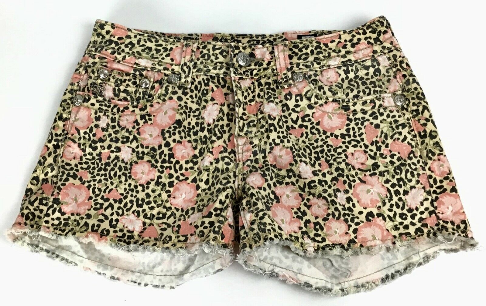 Miss Me Floral Shorts Size 27 Cheetah Leopard pink Cut-Off Fringe Stretch Bling