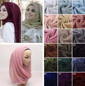 Fashion-Women-039-s-Gold-Wire-Islamic-Muslim-Hijab-Lady-Elasticity-Wrap-Shawl-Scarf